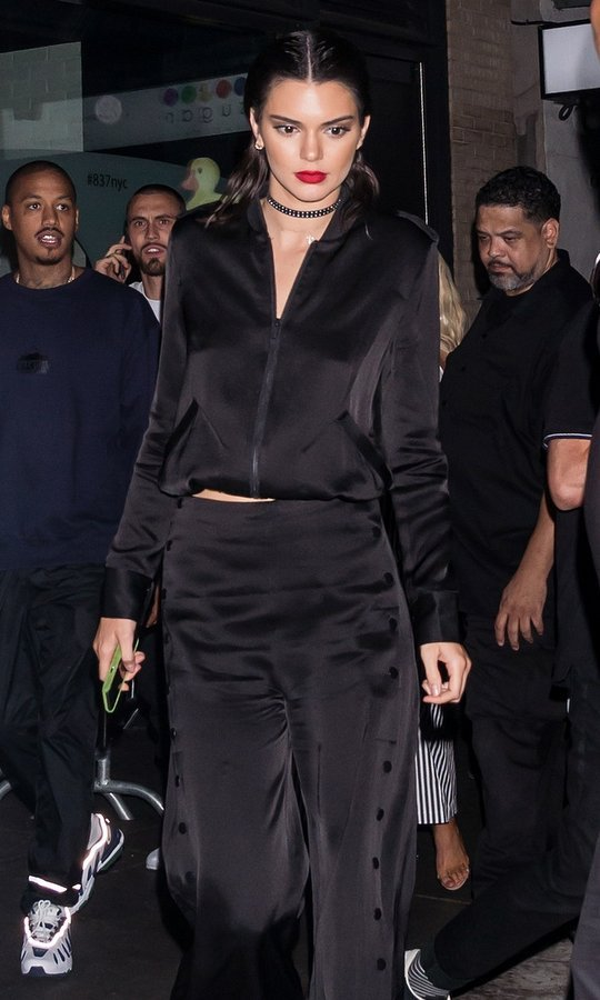 Kendall Jenner showed guests around the Samsung 837 space for the Kendall + Kylie launch that featured a room with visuals of their Instagram pages.