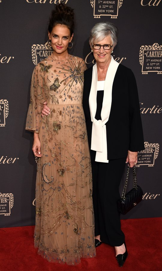 Katie Holmes brought her mom Kathleen along as her date to the Cartier Fifth Avenue Grand reopening event at the Cartier Mansion in New York City on Wednesday night. 