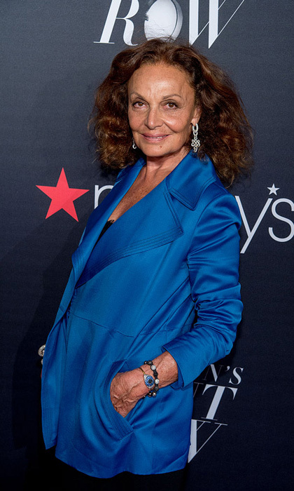Designer Diane von Furstenberg opted for a blue blazer for the Macy's Presents Fashion's Front Row at Madison Square Garden.