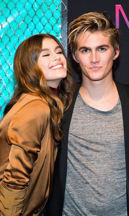 Model siblings. Kaia Gerber was happy to have her brother Presley Gerber by her side at the Maybelline New York Celebrates NYFW party.