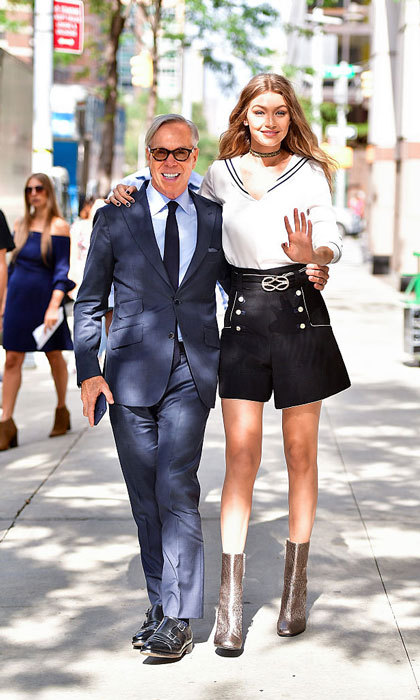 Designer Tommy Hilfiger and Gigi Hadid strolled the streets of New York City arm-in-arm.