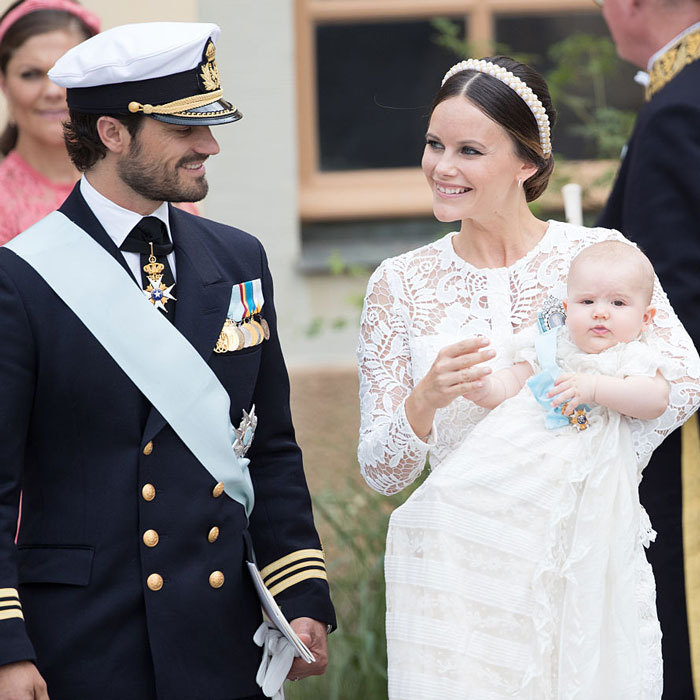 Angelic on his christening day, wearing the same gown worn by his older cousins and father Prince Carl Philip.