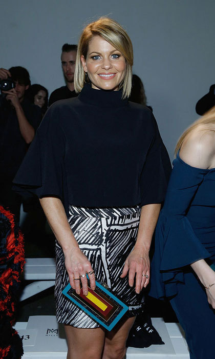 <i>Fuller House</i> star Candace Cameron-Bure showed off her fresh bob sitting front row at the Milly Fashion Show.