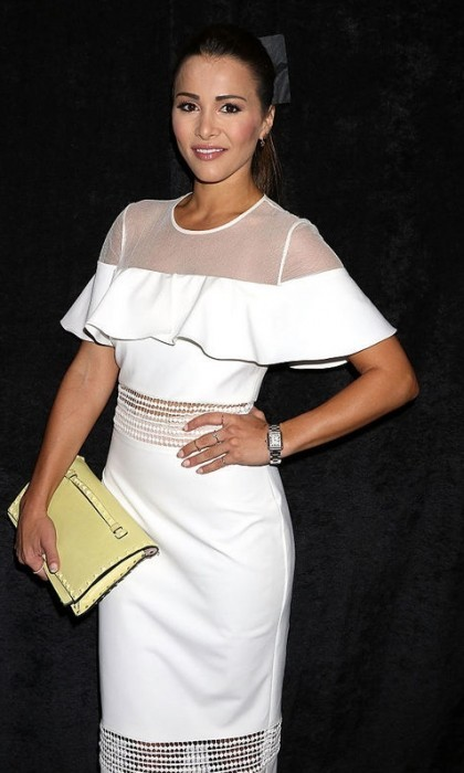 Andi Dorfman stunned in a Nicole Miller LWD for the designer's runway show.