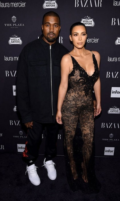 Icons! Kim Kardashian, in Givenchy, and Kanye West posed on the carpet before the <i>Fade</i> singer performed for guests at the Harper's BAZAAR ICONS by Carine Roitfeld party at the Plaza Hotel.