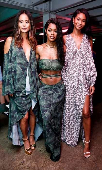 Jamie Chung, Teyana Taylor and Chanel Iman opted for fun patterns for the Baja East show.