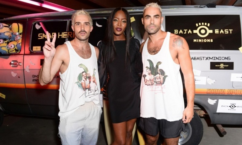 Naomi Campbell supported designers John Targon and Scott Studenberg at the Baja East x Minions party at 25 Beekman Street.