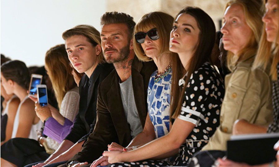 David and Brooklyn Beckham supported wife and mom Victoria Beckham at her Spring Summer 2017 presentation.