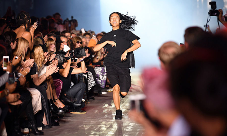 Run Alex, run! Designer Alexander Wang made his way down the runway following his NYFW presentation.