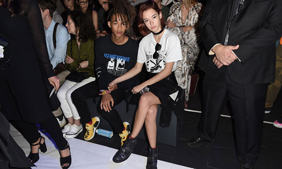 Jaden Smith and girlfriend Sarah Snyder kept close at the Hood By Air fashion showw.