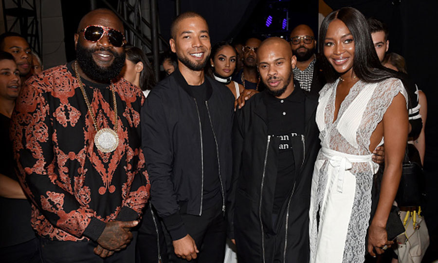 Rick Ross, Jussie Smollett, Shayne Oliver and Naomi Campbell posed together at the Hood By Air fashion show during New York Fashion Week.