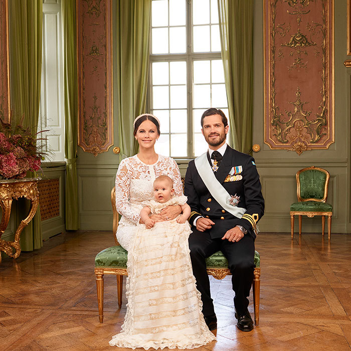 Prince Carl Philip and Princess Sofia were beaming with happiness as they posed with their new bundle of joy in the official photos from Prince Alexander's christening on September 8, 2016.