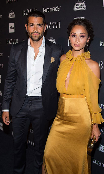 Engaged couple Jesse Metcalfe and Cara Santana made a fashionable pair at the Harper's BAZAAR Celebrates ICONS By Carine Roitfeld party at The Plaza Hotel. 