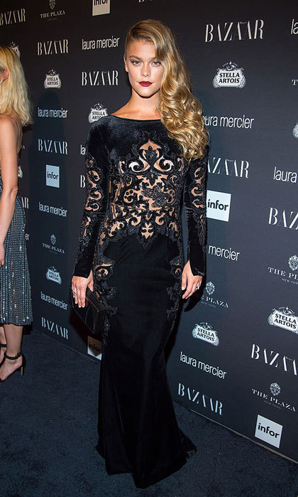 Nina Agdal turned heads in a black Zuhair Murad number at the Harper's BAZAAR Celebrates ICONS By Carine Roitfeld party.