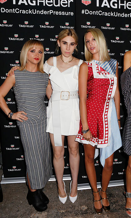 Hollywood and royalty collided fashion week! Actresses Christina Ricci and Zosia Mamet posed for a photo with Princess Olympia of Greece at the MONSE SS17 Runway Show, sponsored by TAG Heuer.