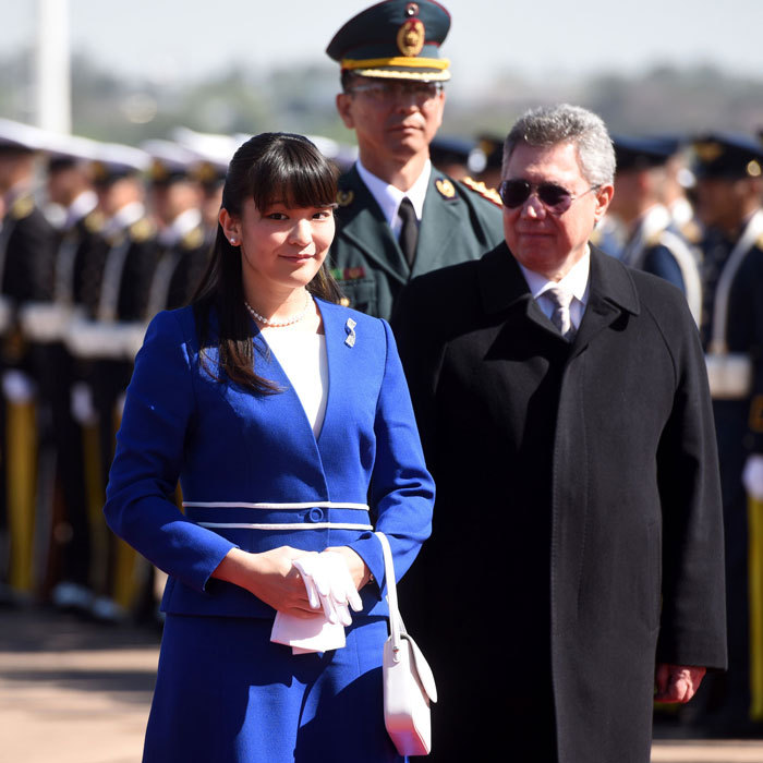 Princess Mako was welcomed by Paraguay's Vice-Foreign Minister Oscar Cabello Sarubi upon her arrival to Luque, for an official visit celebrating the 80th anniversary of the start of Japanese immigration.