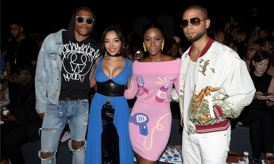 Russell Westbrook, Tinashe, Teyonah Parris and Jussie Smollett posed front row at the Jeremy Scott fashion show. 