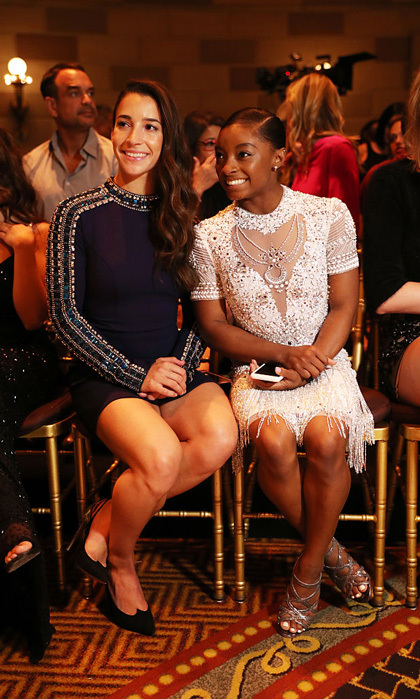"A gold-winning front row! Final Five members, Aly Raisman and Simone Biles attended the Sherri Hill presentation held at Gotham Hall. While discussing fashion week with <b>HELLO!</b> Aly said, ""It's a lot of fun. It's a really neat experience and I love fashion so it's always interesting seeing all the cool designs.""