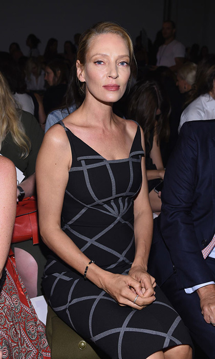 Actress Uma Thurman took her place in the front row at the Zac Posen fashion show held at Spring Studios.