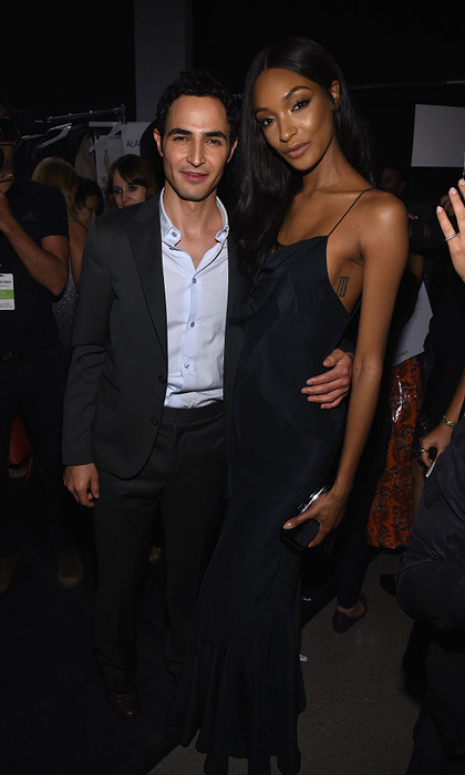 Zac Posen and Jourdan Dunn made a fierce duo backstage at the designer's presentation during New York Fashion Week.