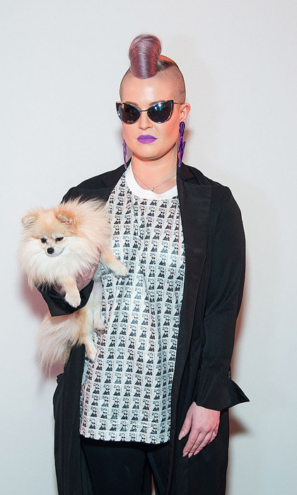 Kelly Osbourne brought her favorite accessory, her pup Polly, to the Jeremy Scott presentation held at the Skylight at Moynihan Station.