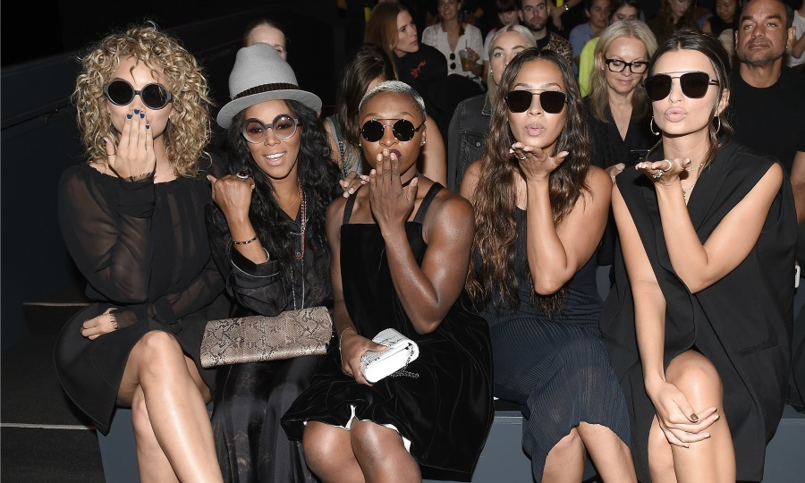 Kisses from the front row! Jasmine Sanders, June Ambrose, Cynthia Erivo, La La Anthony, and Emily Ratajkowski during Vera Wang.
