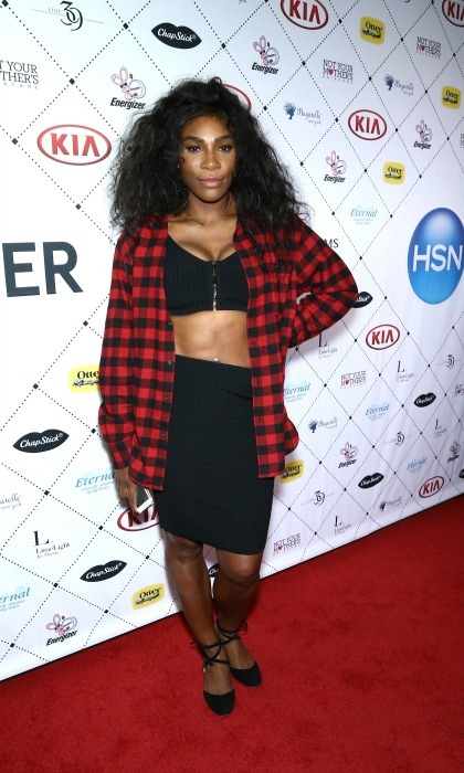 "Serena Williams was after-party ready in ""his t-shirt"" during the Kia STYLE360 hosts Serena Williams Signature Statement Collection by HSN.