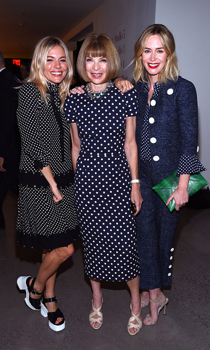 Sienna Miller, Anna Wintour and Emily Blunt made a chic spotted trio at the Michael Kors Spring 2017 runway show at Spring Studios.
