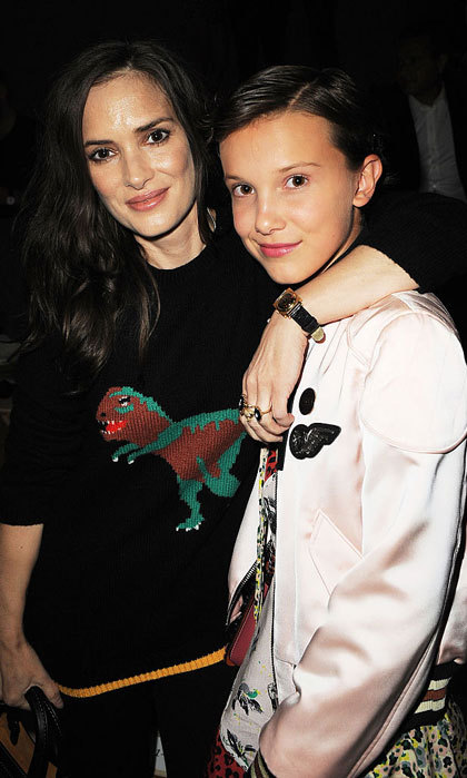 <i>Stranger Things</i> co-stars Winona Ryder and Millie Bobby Brown reunited at the Coach 1941 Women's Spring 2017 Show held at Pier 76.