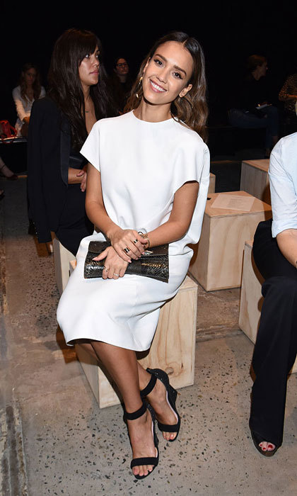 Jessica Alba was <i>sitting pretty</i> at the Narciso Rodriguez show held at SIR Stage 37 in New York City. 
