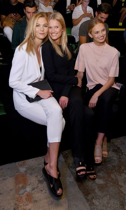Karlie Kloss, Toni Garrn and Romee Strijd were bosses in the front row at the Boss Womenswear show.