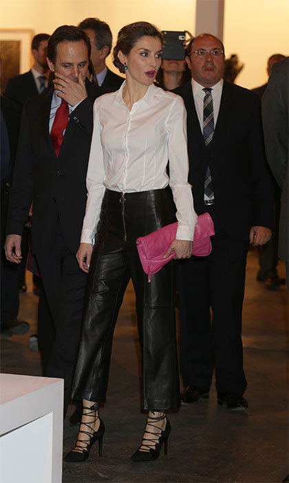 King Felipe's wife donned this daring leather look during the inauguration of the 35th edition of the International Contemporary Art Fair in 2016.