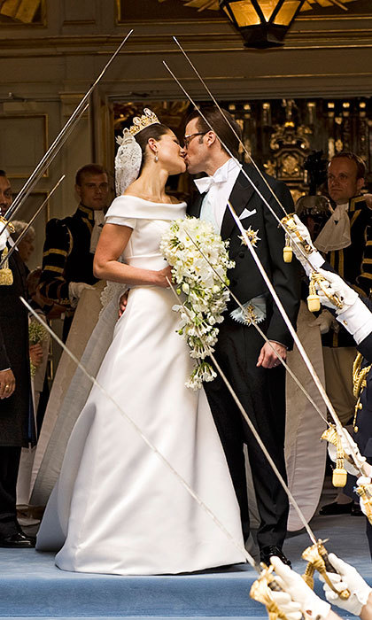Just married! Crown Princess Victoria and her now husband shared their first kiss as husband and wife during their wedding ceremony on June 19, 2010 in Stockholm, Sweden. 