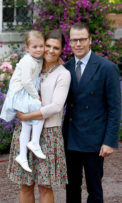 Proud parents, Daniel and Victoria posed with their daughter Princess Estelle during Victoria's 38th birthday celebration in July 2015.