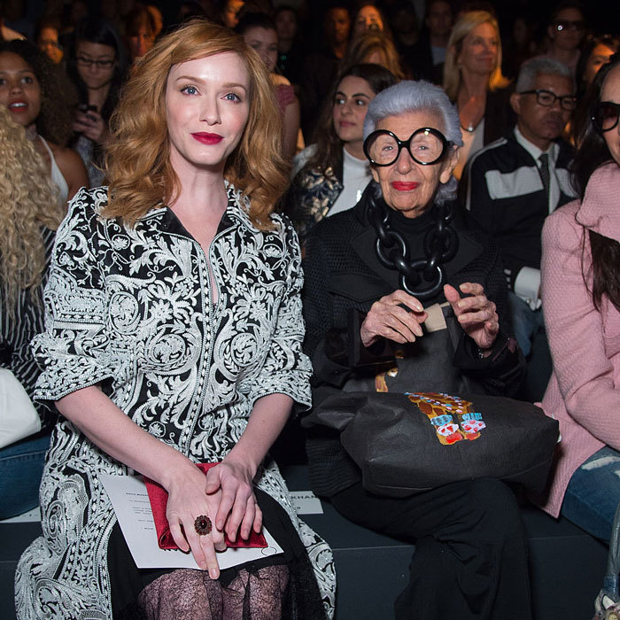 Actress Christina Hendricks joined fashion icon Iris Apfel in the front row of the Naeem Khan fashion show.