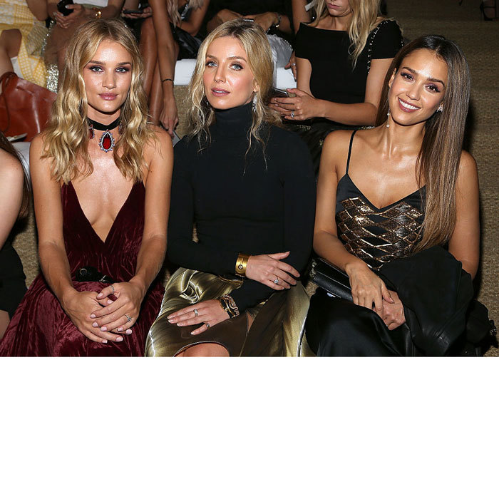 Front row beauties. Rosie Huntington-Whitely, Annabelle Wallis and Jessica Alba made a fashionable trio at the Ralph Lauren fashion show held at the Ralph Lauren Madison Avenue Store in New York City. 