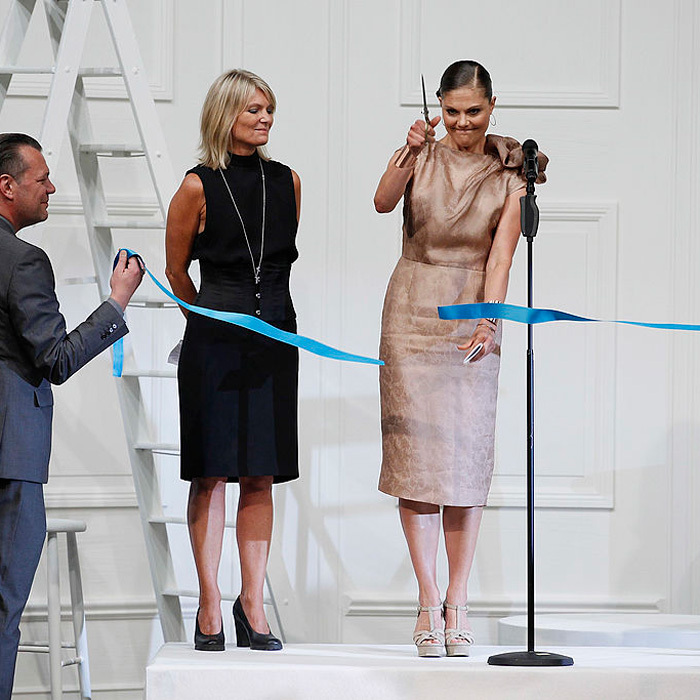 "<a href=""http://us.hellomagazine.com/tags/1/crown-princess-victoria/""><strong>Crown Princess Victoria of Sweden</strong></a> cut a ribbon at the Fadi El Khoury S/S 2013 Fashion Show during the Mercedes-Benz Stockholm Fashion Week in Sweden. 