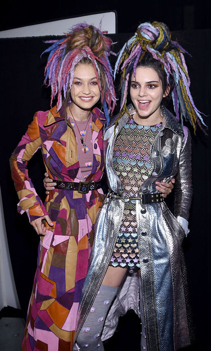 Party backstage! Besties Gigi Hadid and Kendall Jenner reunited at the Marc Jacobs Spring 2017 fashion show held at the Hammerstein Ballroom.