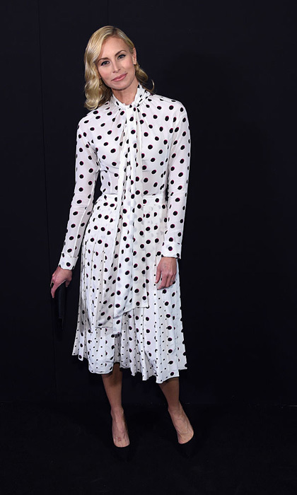Supermodel Niki Taylor was snapped backstage at the Marc Jacobs show wearing a black and white dotted frock.  