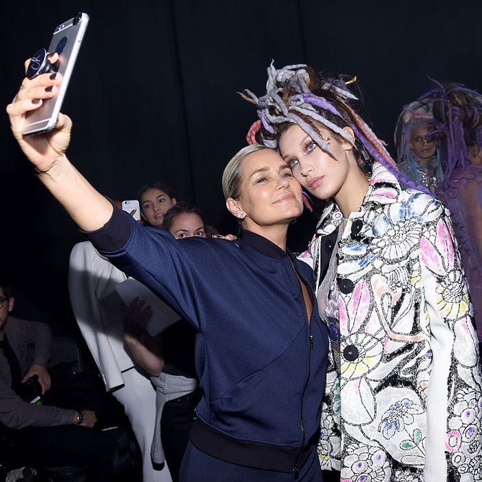 Proud mom Yolanda Hadid snapped a selfie with daughter Bella Hadid backstage at the Marc Jacobs Spring 2017 fashion show.