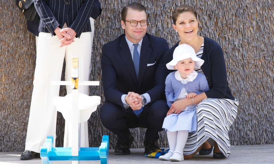 Victoria and Daniel celebrated a royal milestone with Princess Estelle on the little royal's first official engagement at the opening of Fairytale Path at Lake Takern in Mjolby, Sweden in May 2014. 
