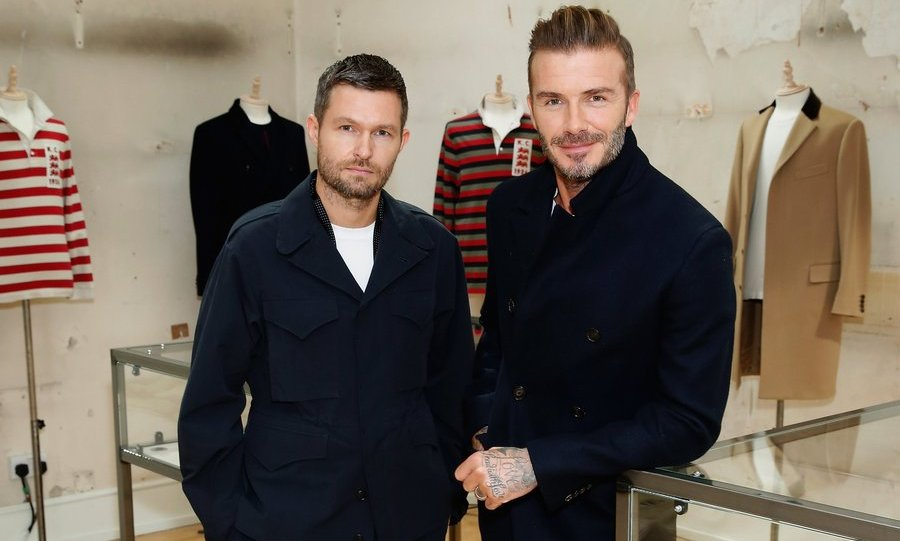 Creative Director Daniel Kearns teamed up with David Beckham to present the relaunch of Kent & Curwen at Kent & Curwen, Mayfair. 