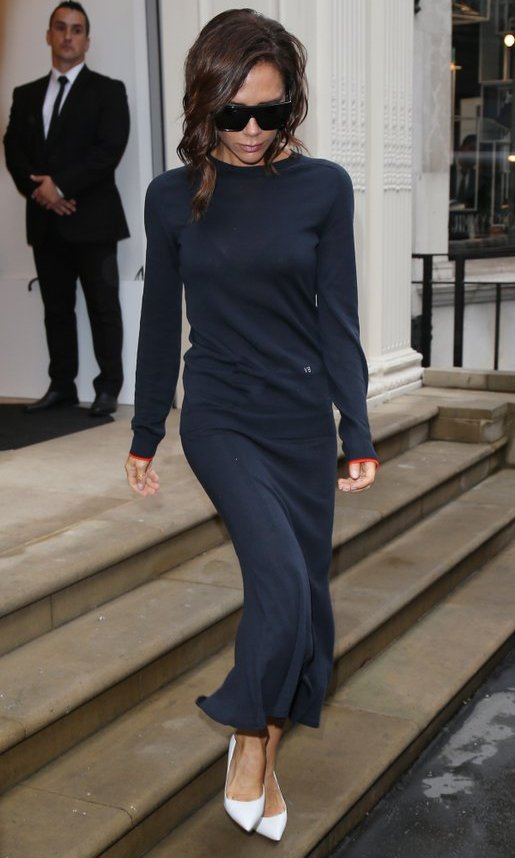 Victoria Beckham donned her signature oversized shades as she left her Dover Street store. 