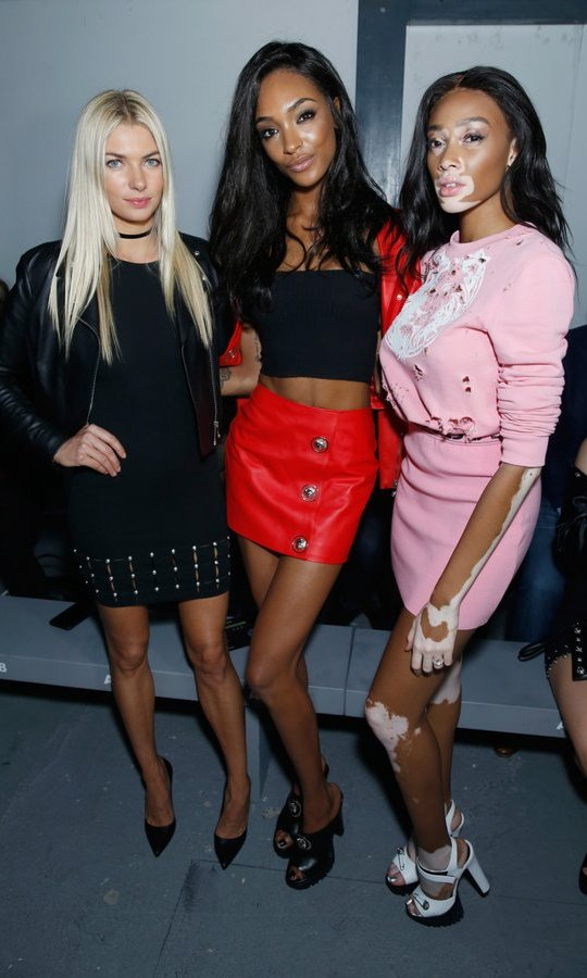 From left to right, top models Jessica Hart, Jourdan Dunn and Winnie Harlow took the time to strike a pose in the FROW at Versus Versace.