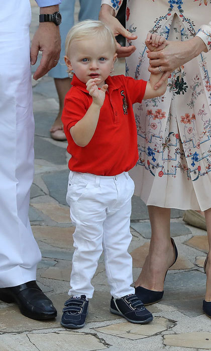 A royal wave! Prince Jacques, the heir apparent to the Monaco throne, made an adorable gesture during the traditional picnic.  