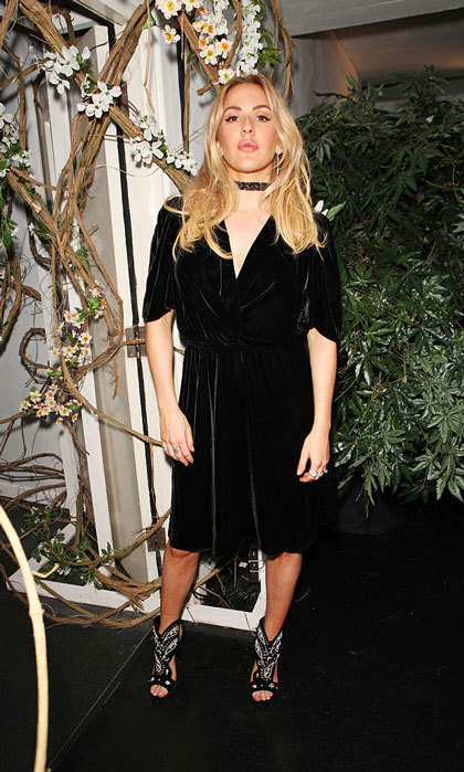 Ellie Goulding was on trend wearing a choker necklace, which she paired with a velvet dress to the Sunday Times Styles: Fashion Special party during London Fashion Week held at L'Eden by Perrier-Jouet.