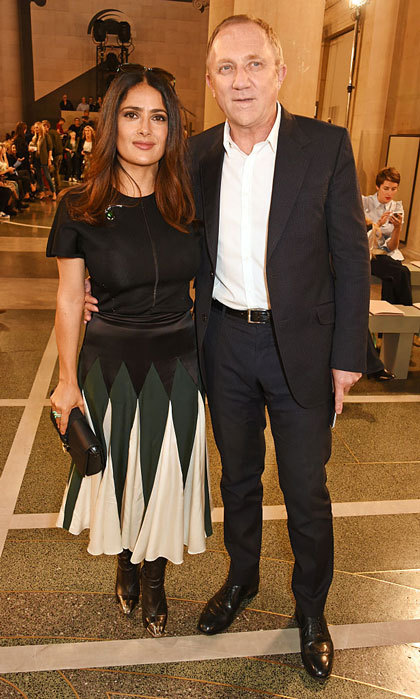 It was a fashionable date for Salma Hayek and her husband Francois Henri Pinault at the Christopher Kane show in London.