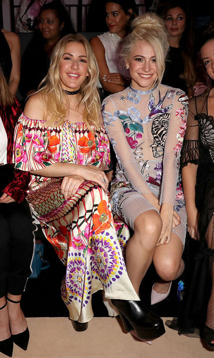 Perhaps blondes do have more fun! Ellie Goulding and Pixie Lott donned colorful dresses to the Temperley London presentation.