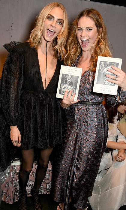 Cara Delevingne and Lily James were excited to sit front row at the Burberry SS2017 show in London.  