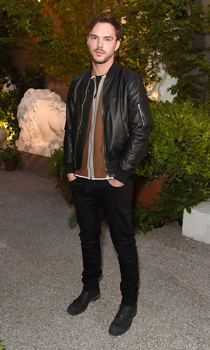 Nicholas Hoult looked sharp wearing a Burberry jacket to the label's fashion show held at Makers House in London, England. 
